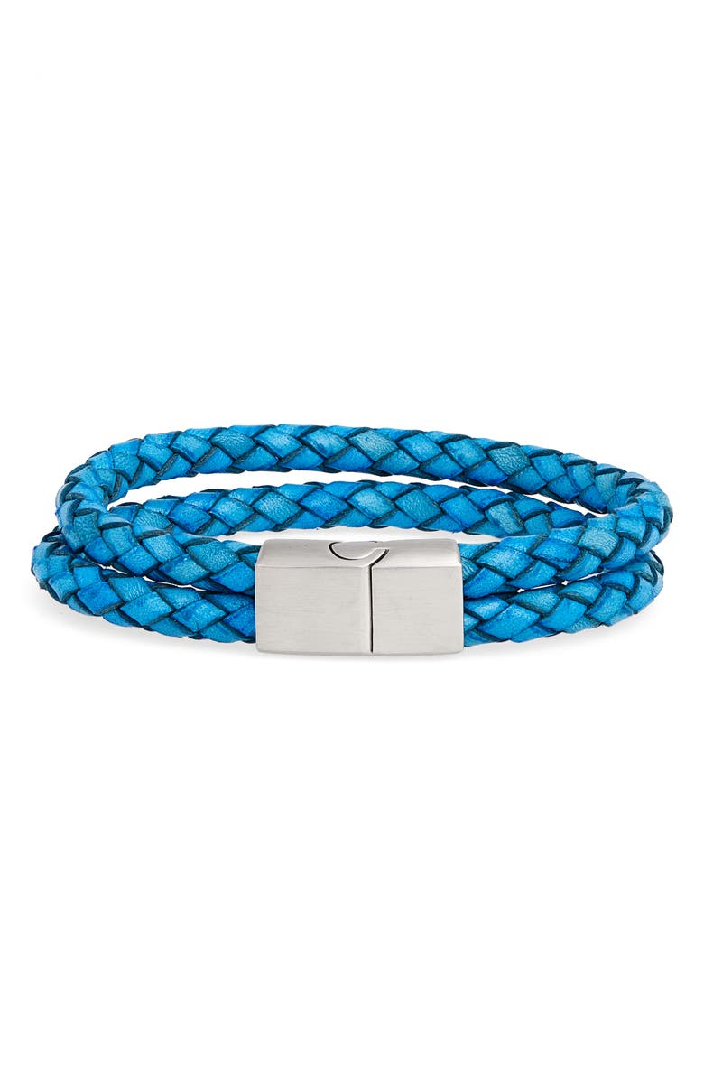 NORDSTROM MEN'S SHOP Braided Leather Bracelet, Main, color, 420