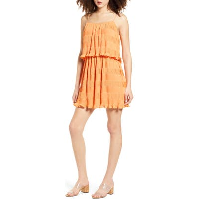 Moon River Ruffle & Pleat Minidress, Orange