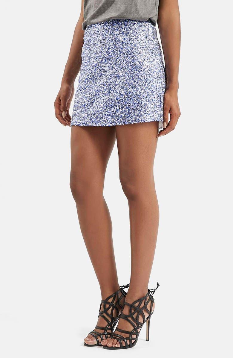 TOPSHOP 'Twinkle' Sequin Miniskirt, Main, color, 400