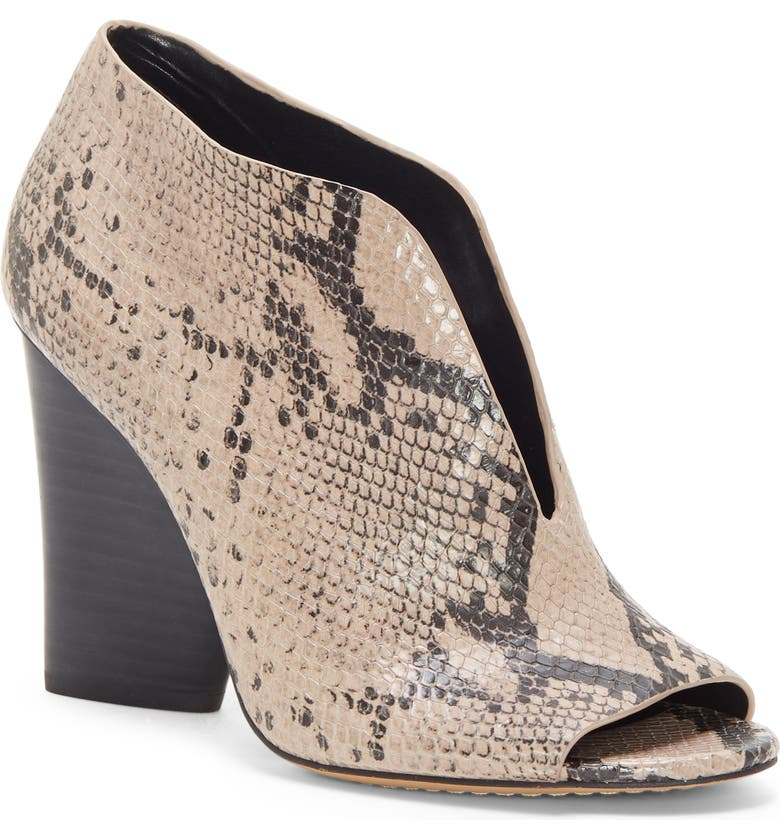 VINCE CAMUTO Andrita Open Toe Bootie, Main, color, TAUPE LEATHER