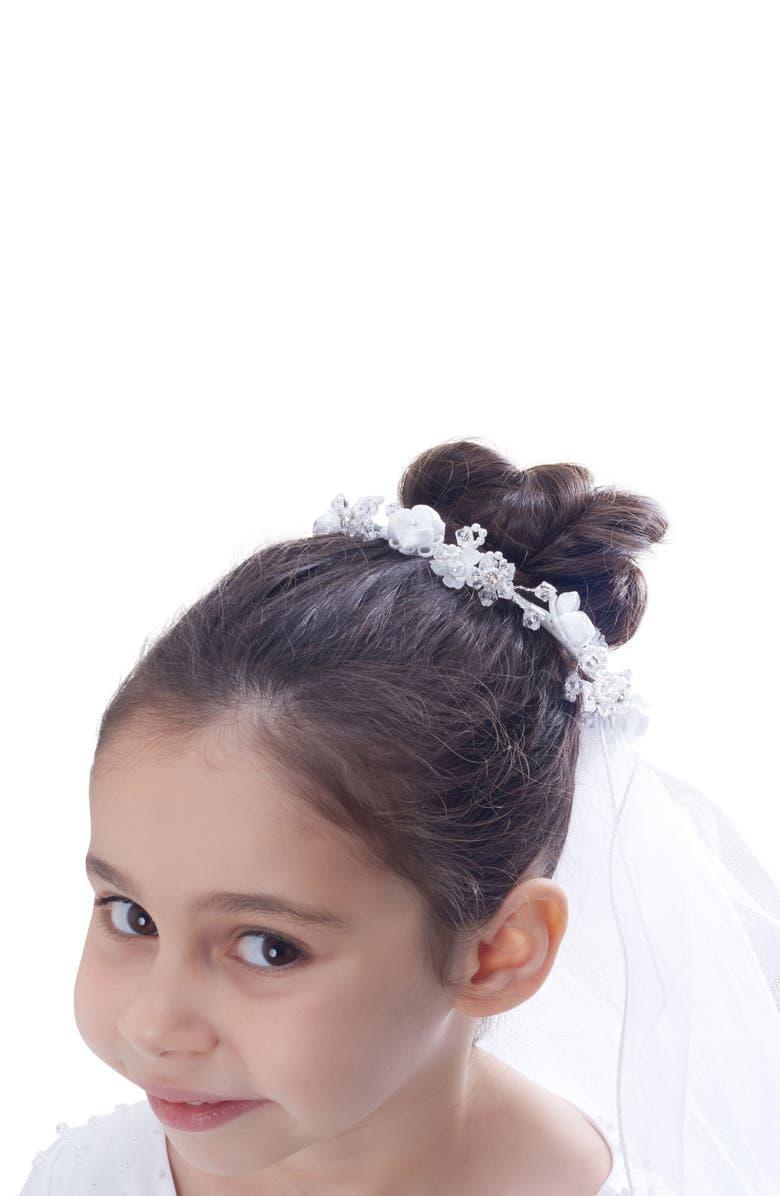 LAUREN MARIE Floral Bun Holder Crown & Veil, Main, color, WHITE