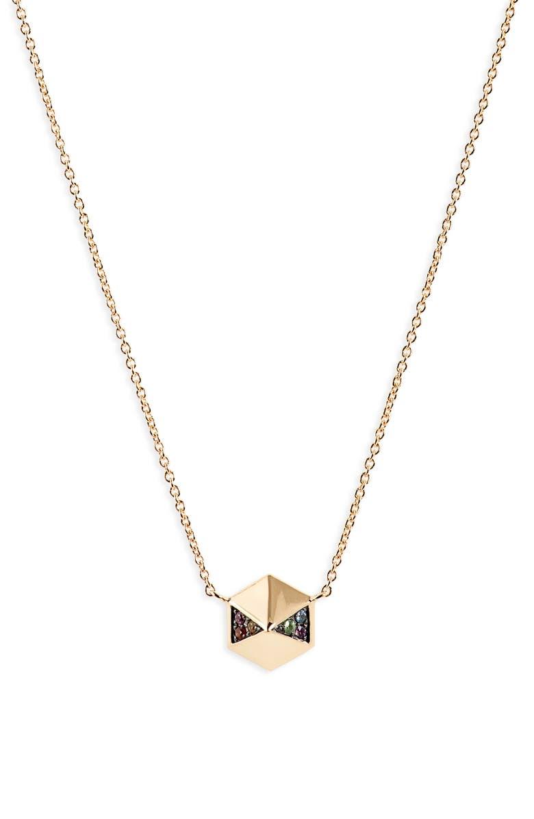 HARWELL GODFREY Rainbow Pavé Hexagon Pendant Necklace, Main, color, YELLOW GOLD/ RAINBOW SAPPHIRE