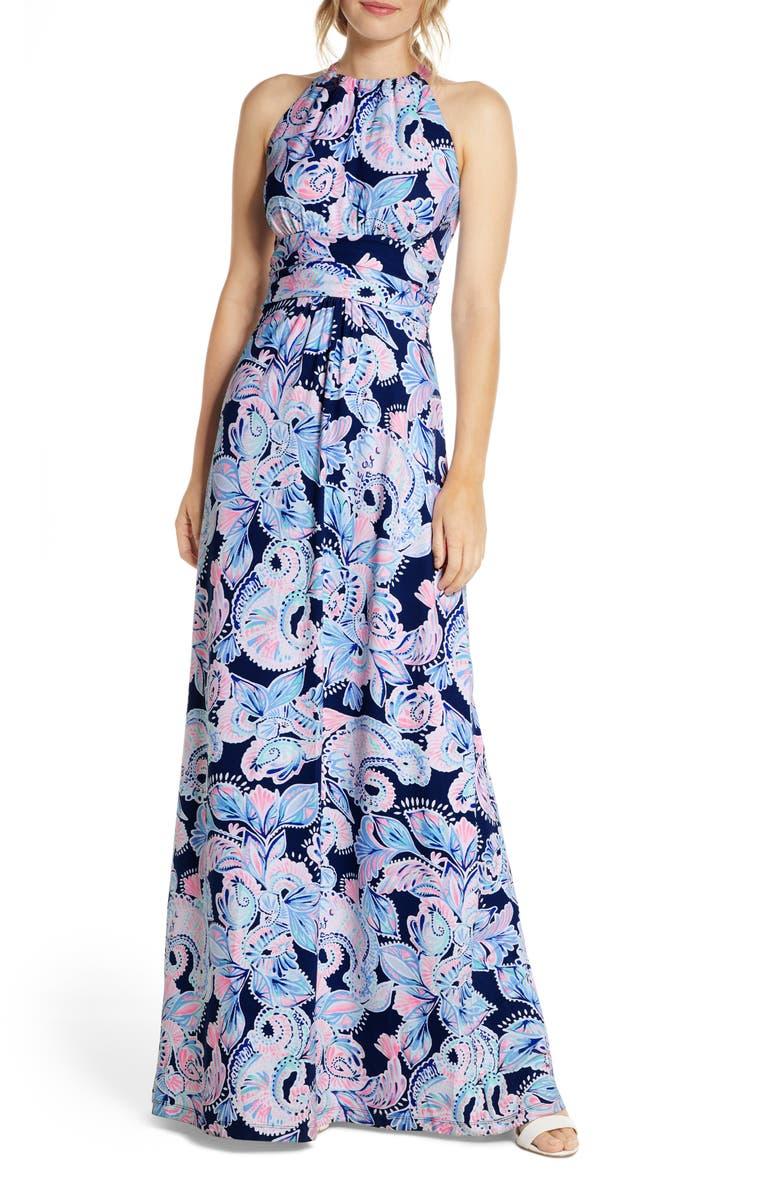 LILLY PULITZER<SUP>®</SUP> Martina Maxi Dress, Main, color, HIGH TIDE NAVY