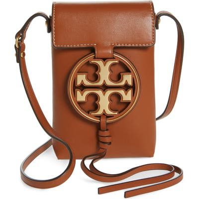 Tory Burch Miller Leather Phone Crossbody Bag - Brown