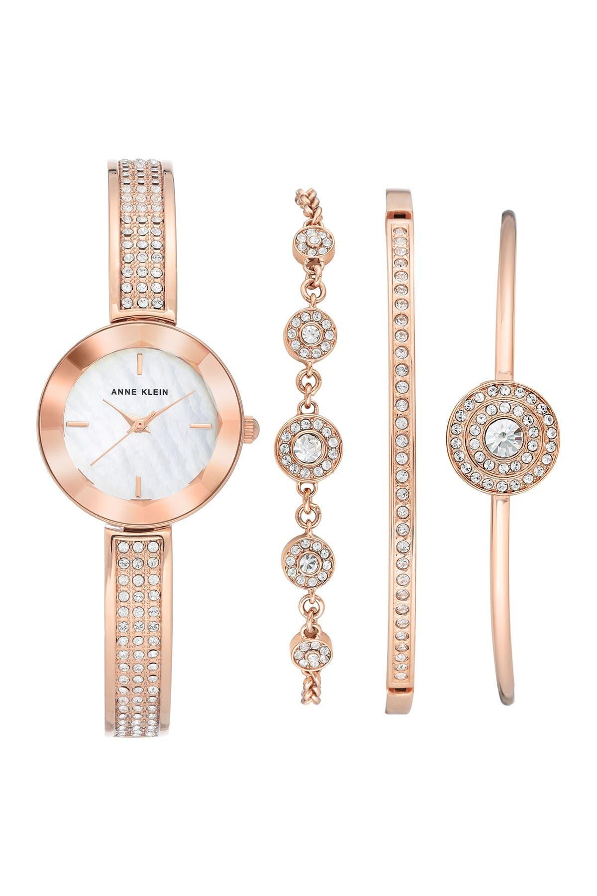 Image of Anne Klein Women's Crystal Bangle Watch & Bracelet Set, 26mm