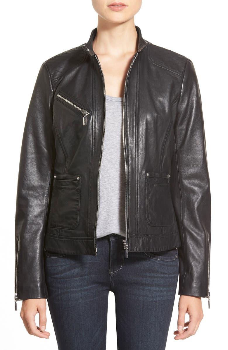 BERNARDO Zip Front Leather Jacket, Main, color, 001