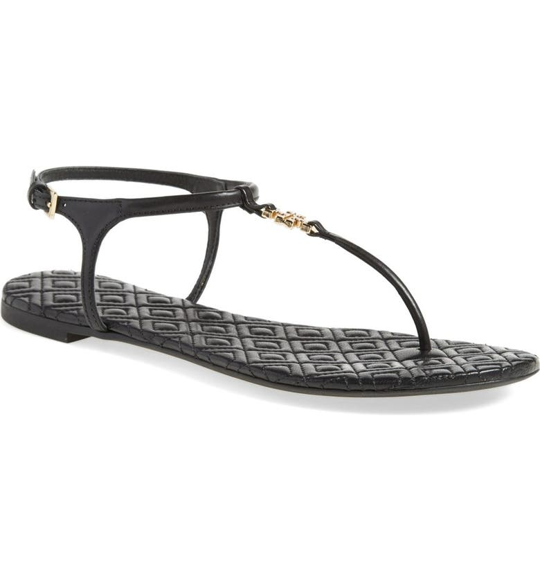 TORY BURCH 'Marion' Quilted Sandal, Main, color, 001