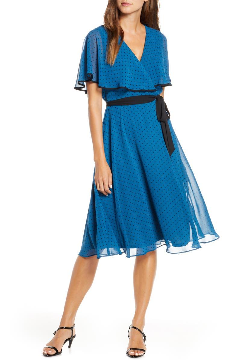 MAISON TARA Polka Dot Cape BodiceChiffon Dress, Main, color, TEAL/ BLACK