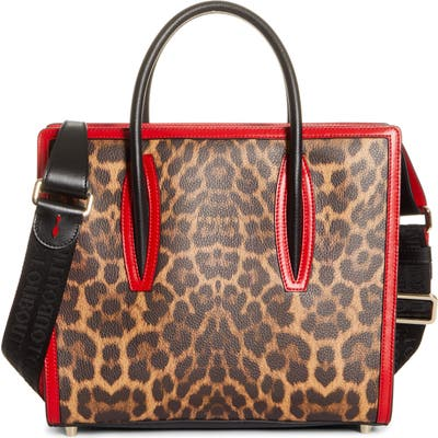 Christian Louboutin Medium Paloma Leopard Print Leather Tote - Brown (Nordstrom Exclusive)