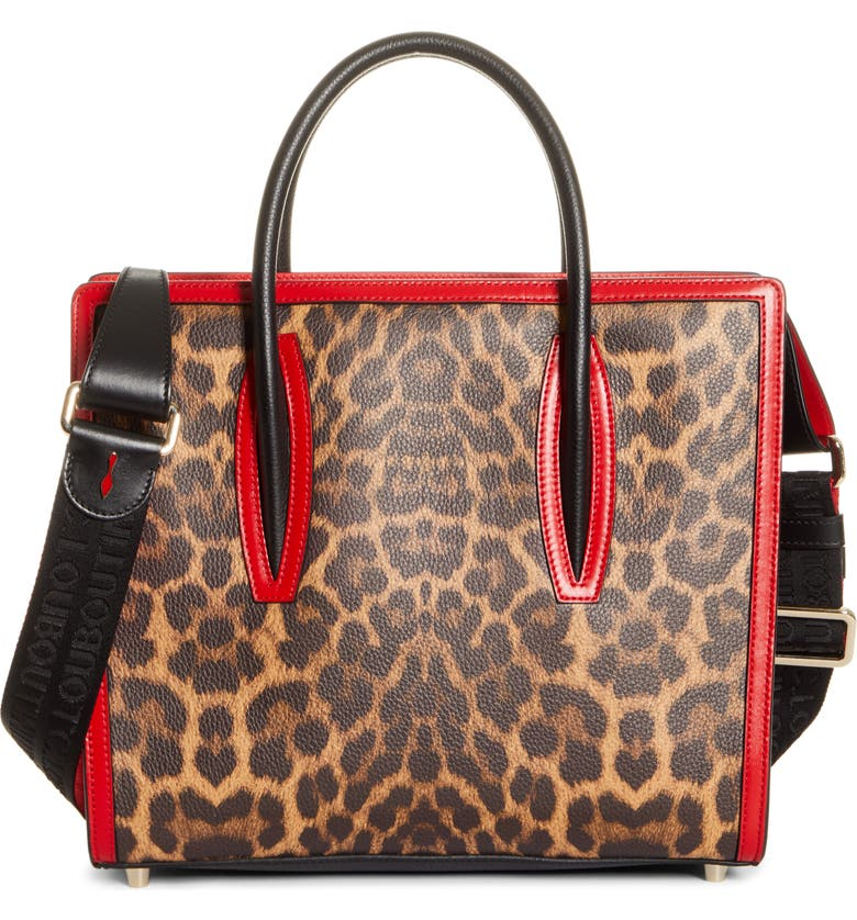 CHRISTIAN LOUBOUTIN Medium Paloma Leopard Print Leather Tote, Main, color, BROWN/ LOUBI/ BLACK