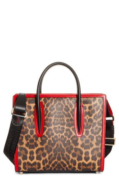 Christian Louboutin Totes MEDIUM PALOMA LEOPARD PRINT LEATHER TOTE - BROWN (NORDSTROM EXCLUSIVE)
