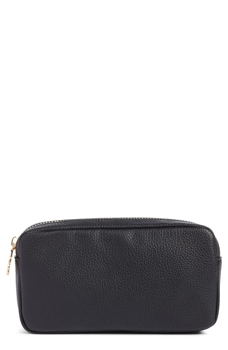 STONEY CLOVER LANE Small Pebbled Faux Leather Makeup Bag, Main, color, 001