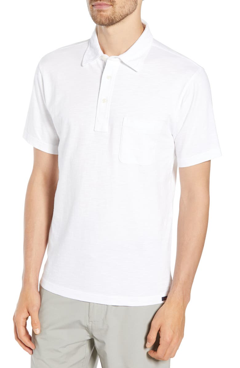 FAHERTY Sunwashed Regular Fit Polo, Main, color, WHITE