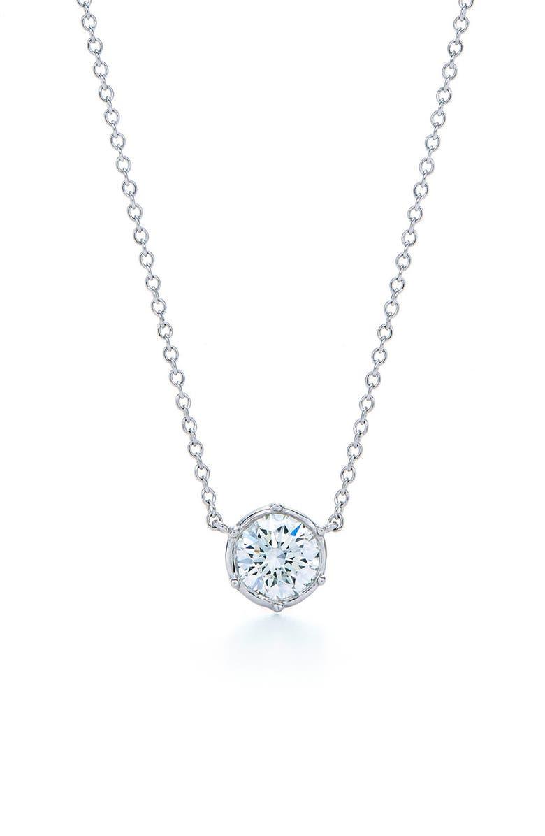 KWIAT Classic Diamond Bezel Pendant Necklace, Main, color, 711