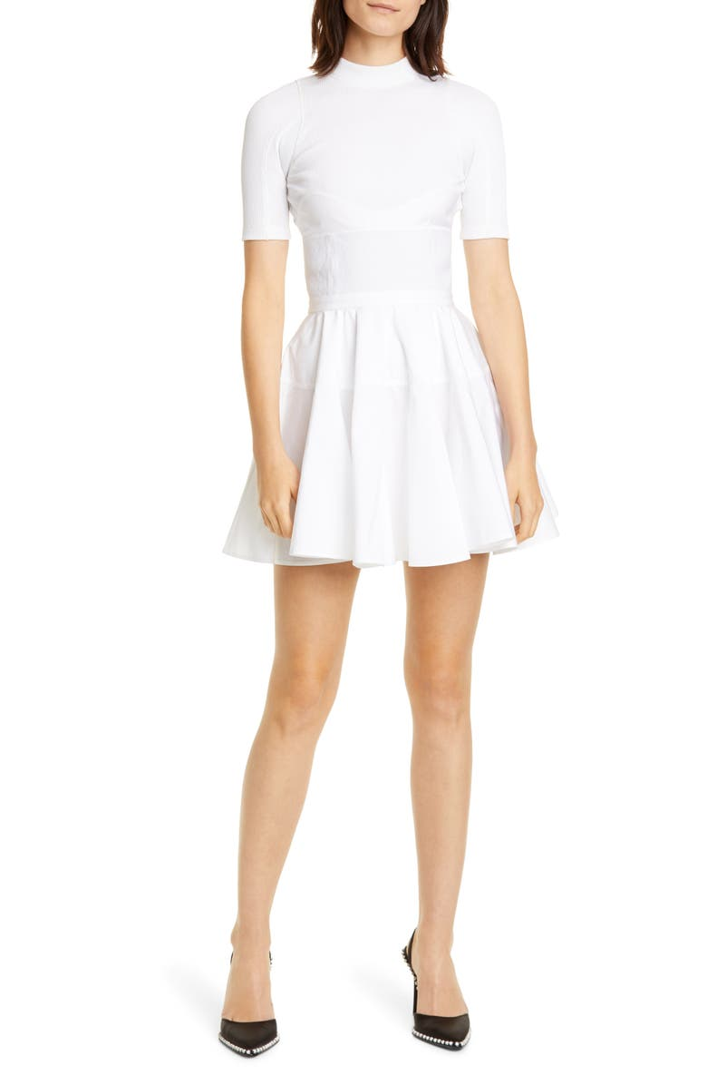 ALEXANDER WANG Fit & Flare Minidress, Main, color, WHITE
