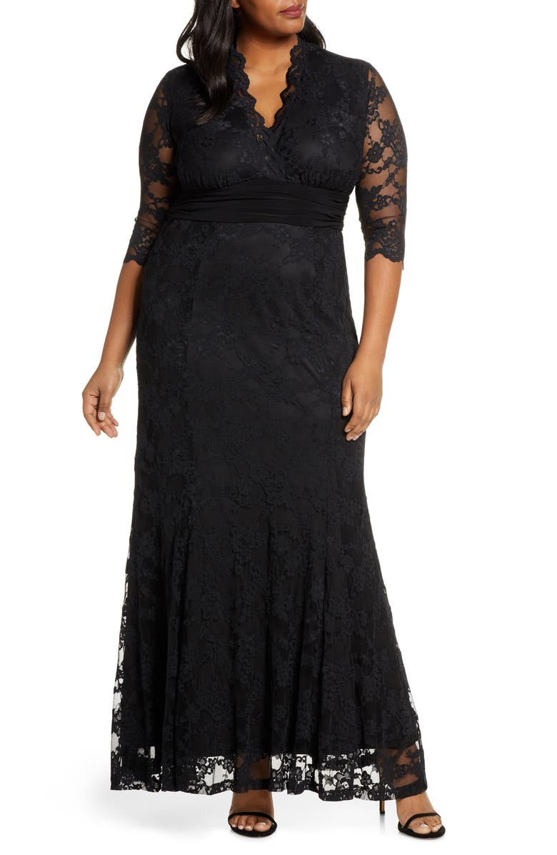 KIYONNA Screen Siren Lace Evening Gown, Main, color, ONYX