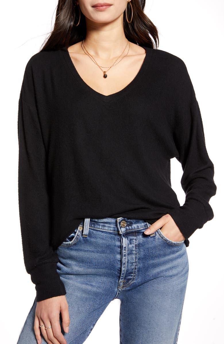 TREASURE & BOND Cozy V-Neck Sweater, Main, color, BLACK
