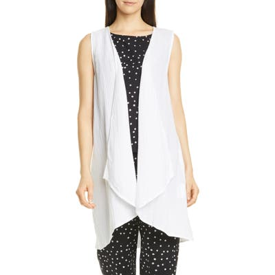 Eileen Fisher Organic Cotton Long Vest, White