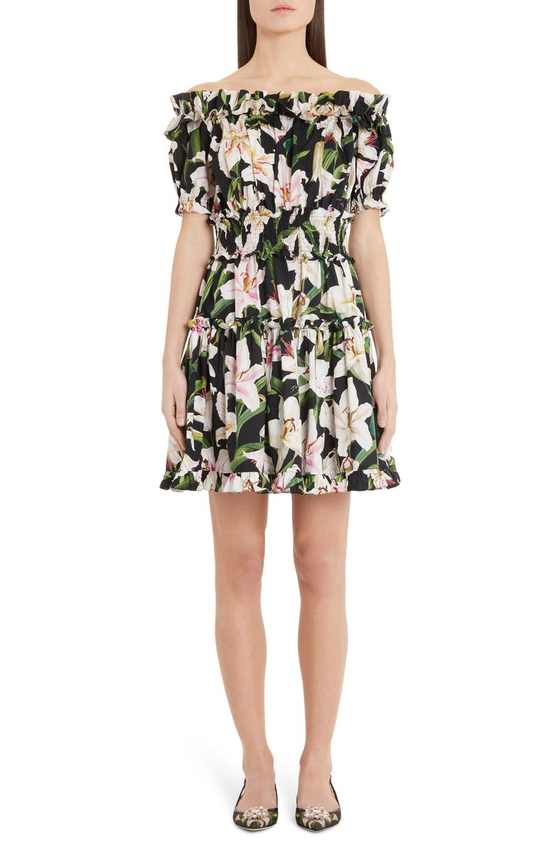 DOLCE&GABBANA Lily Print Off the Shoulder Minidress, Main, color, BLACK LILY