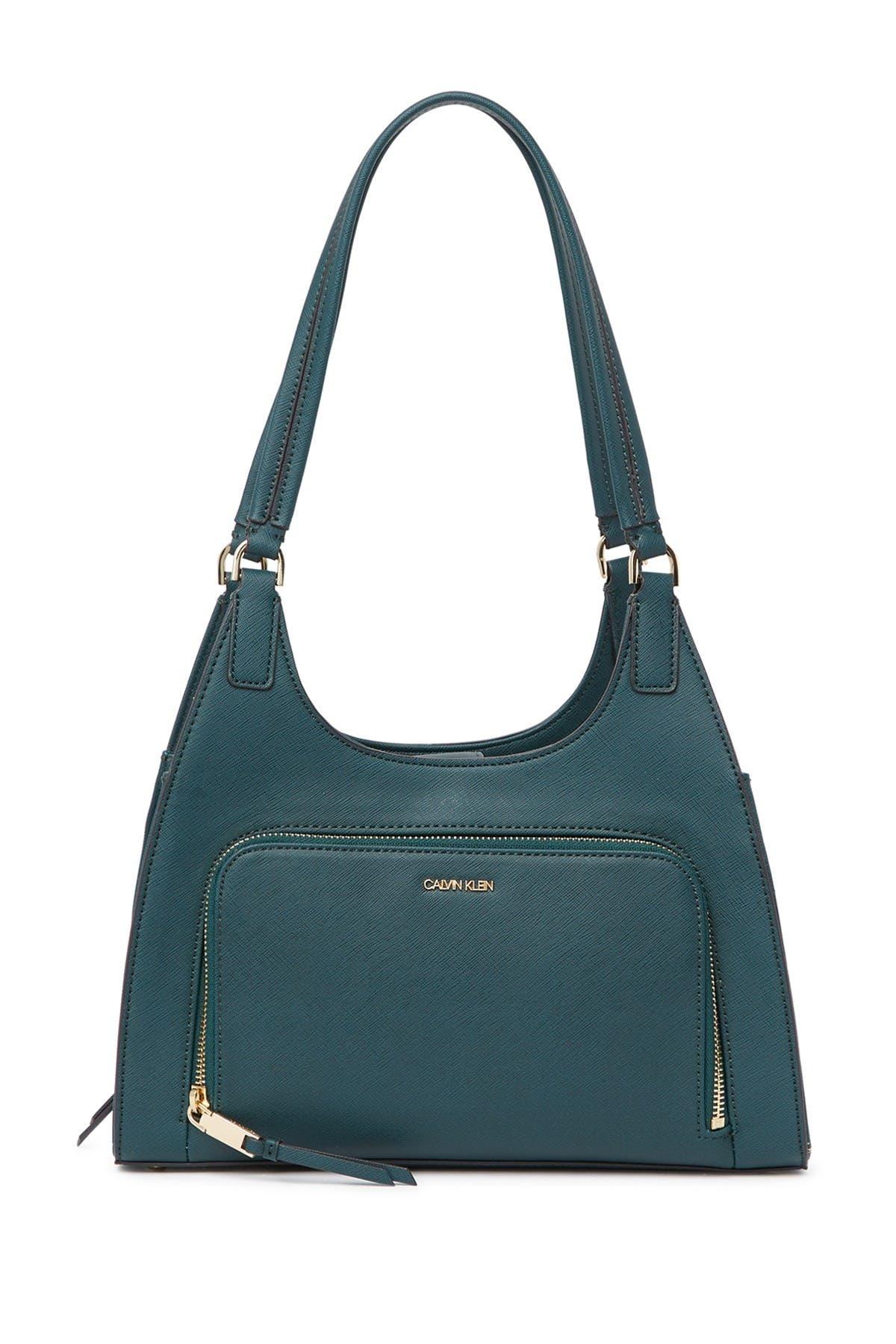 Image of Calvin Klein Ava Saffiano Leather Organizational Shoulder Bag