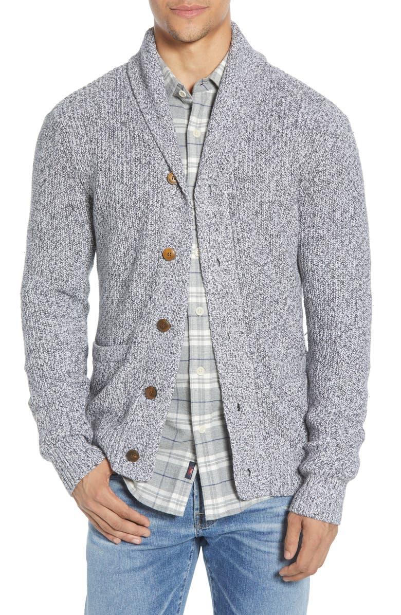 FAHERTY Marled Cotton & Cashmere Cardigan, Main, color, LIGHT GREY RAG