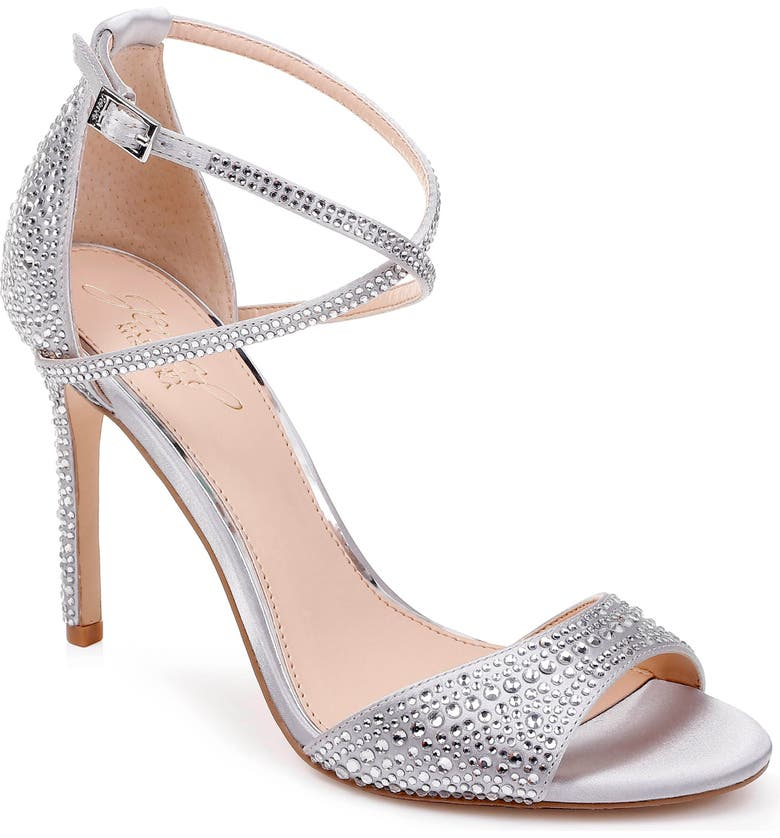 JEWEL BADGLEY MISCHKA Dillon Crystal Embellished Sandal, Main, color, SILVER SATIN