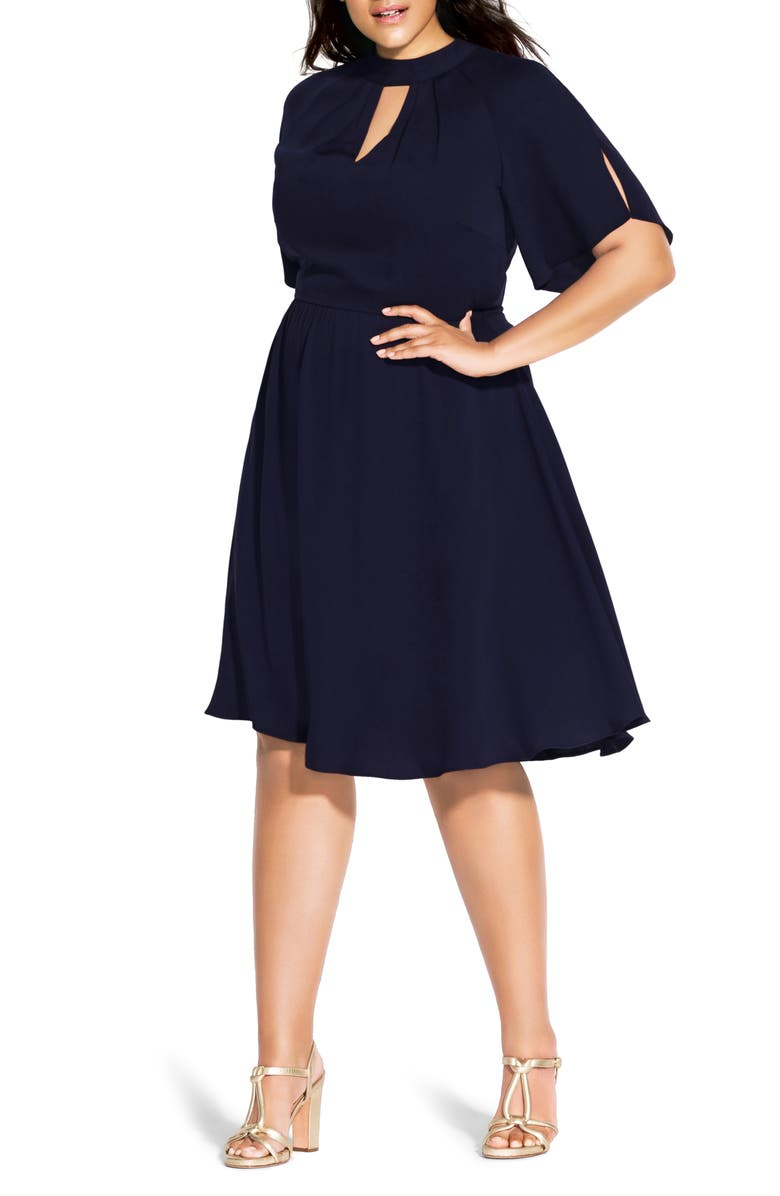 CITY CHIC Sophisticate Fit & Flare Dress, Main, color, DARK NAVY