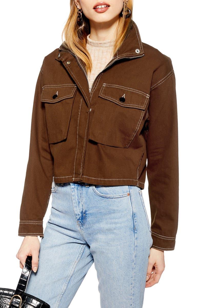 TOPSHOP Leon Utility Jacket, Main, color, 200