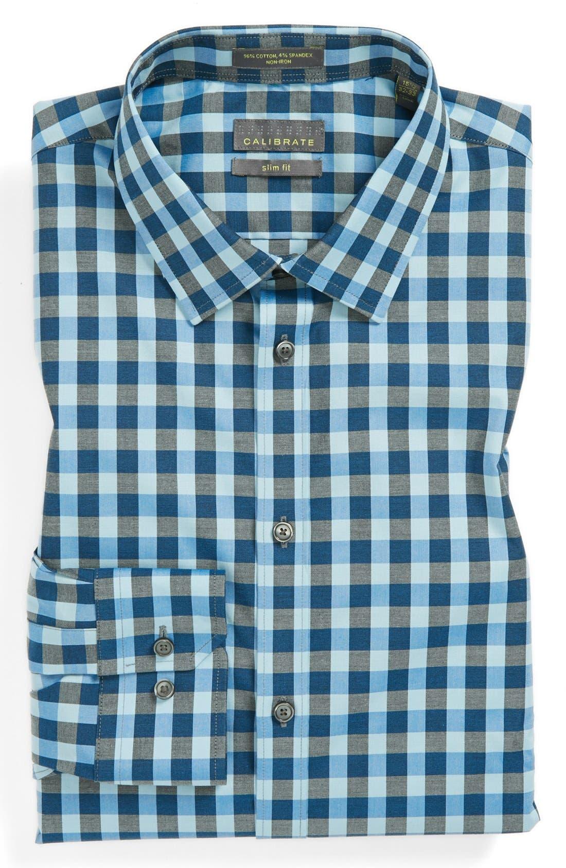 ,                             Slim Fit Non Iron Gingham Dress Shirt,                             Main thumbnail 19, color,                             461