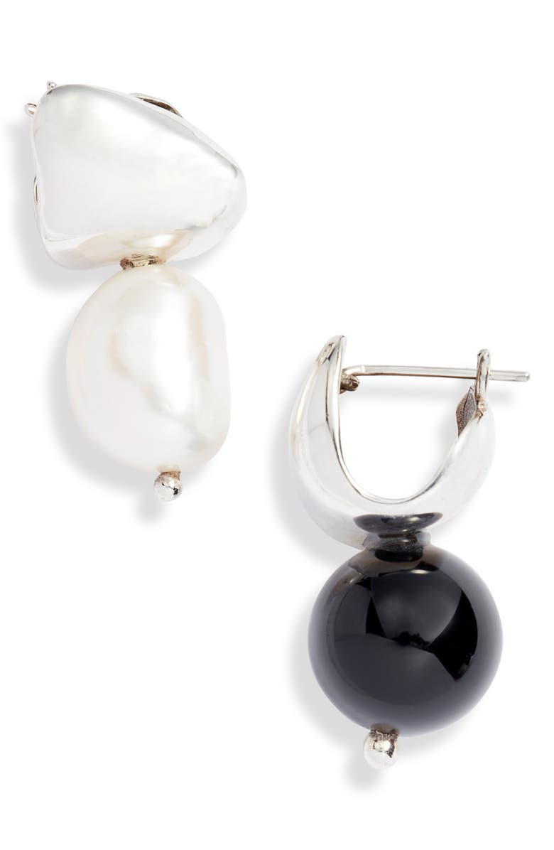 FARIS Mismatched Drop Earrings, Main, color, STERLING SILVER / PEARL / ONYX