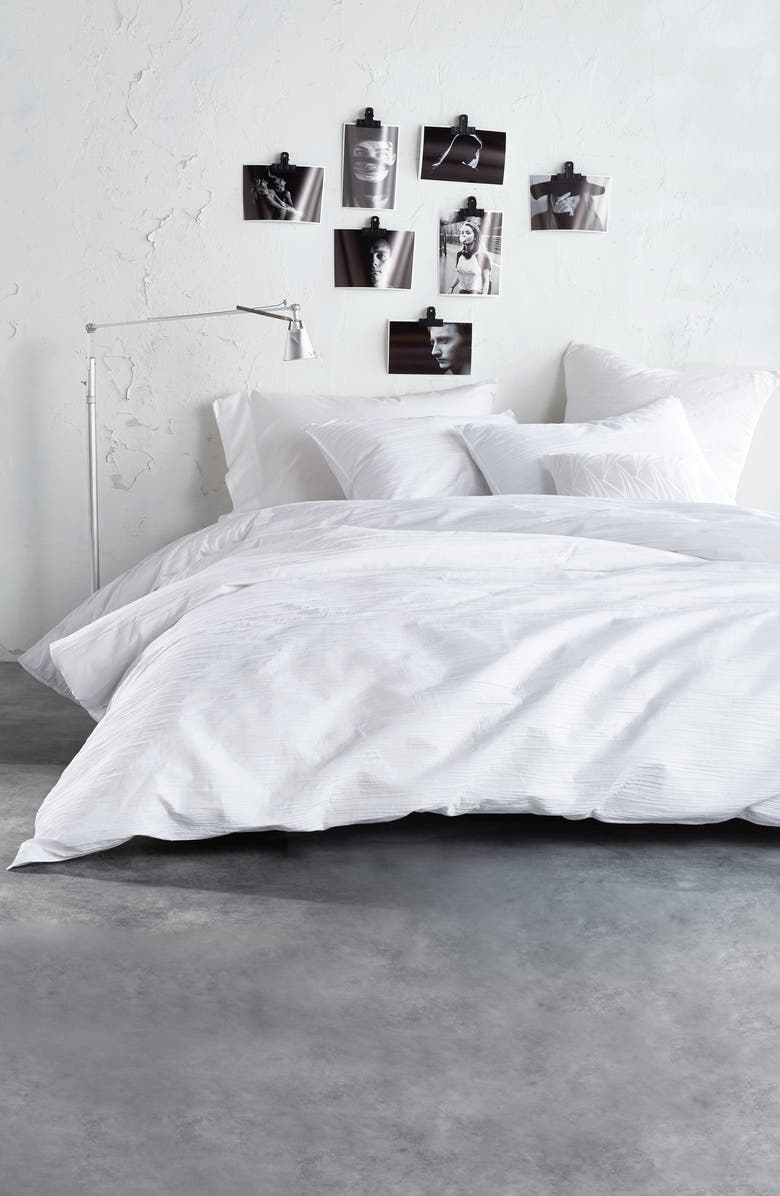 DKNY Ripple Comforter & Sham Set, Main, color, WHITE