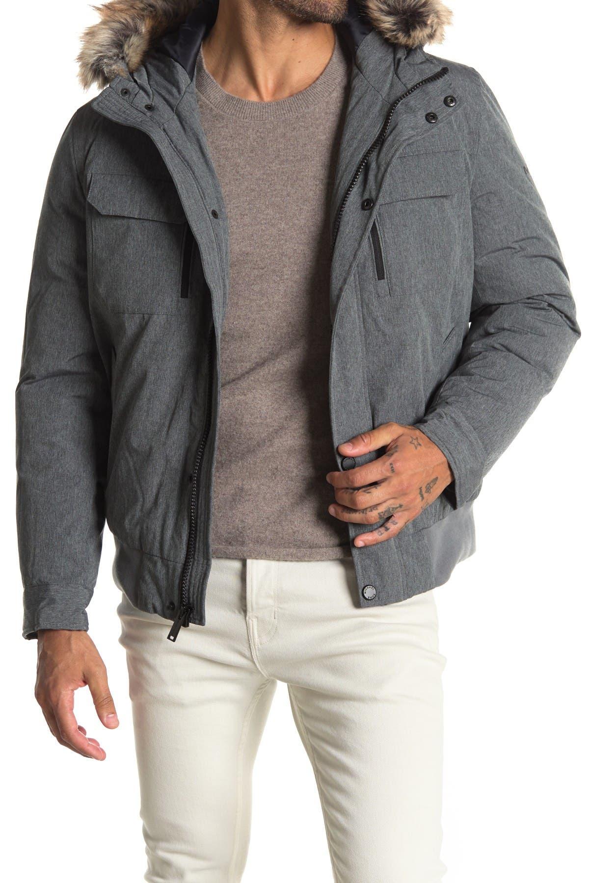Image of Michael Kors Faux Fur Trim Hood Puffer Jacket