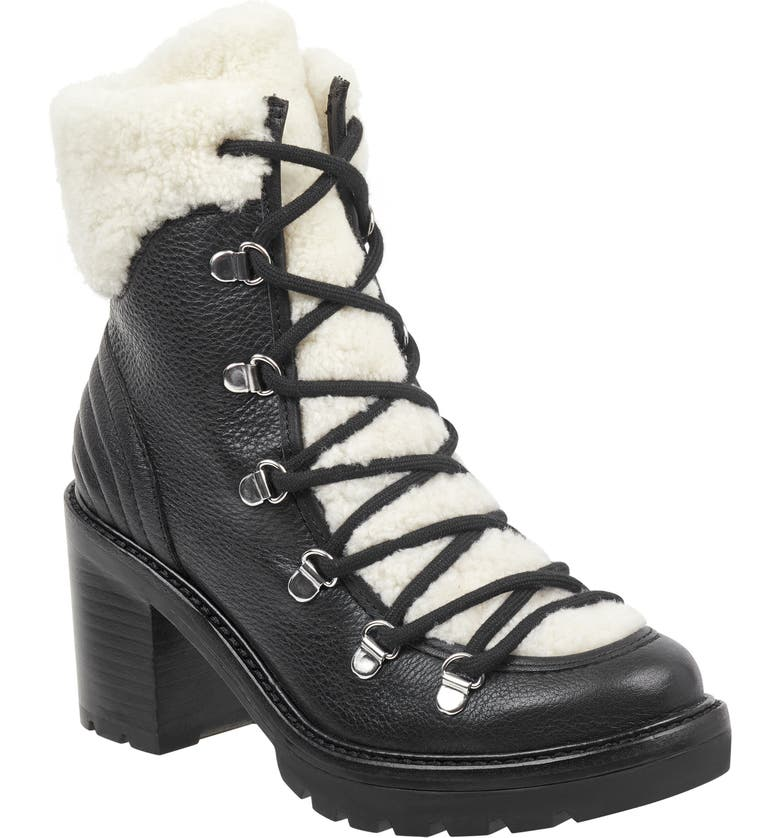 MARC FISHER LTD Daven Genuine Shearling Lace Up Boot, Main, color, 001