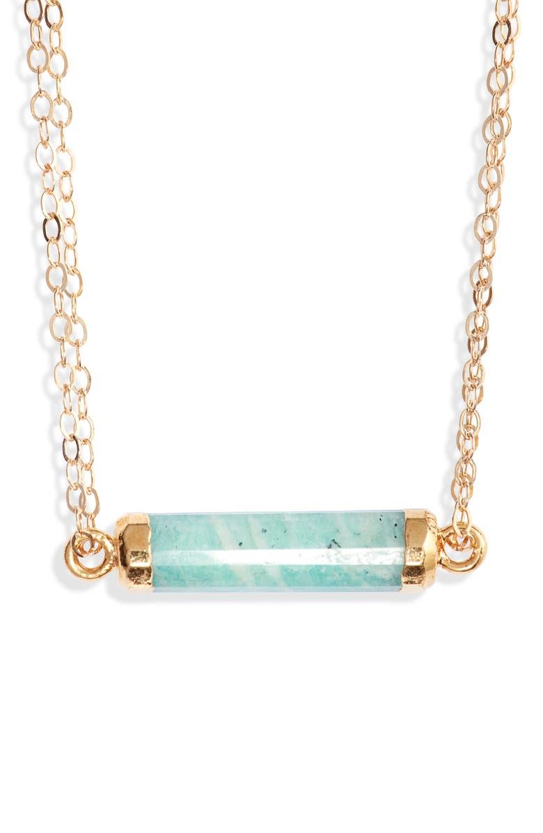 MEND Medium Stack Pendant Necklace, Main, color, GOLD/ BLUE GREEN AMAZONITE