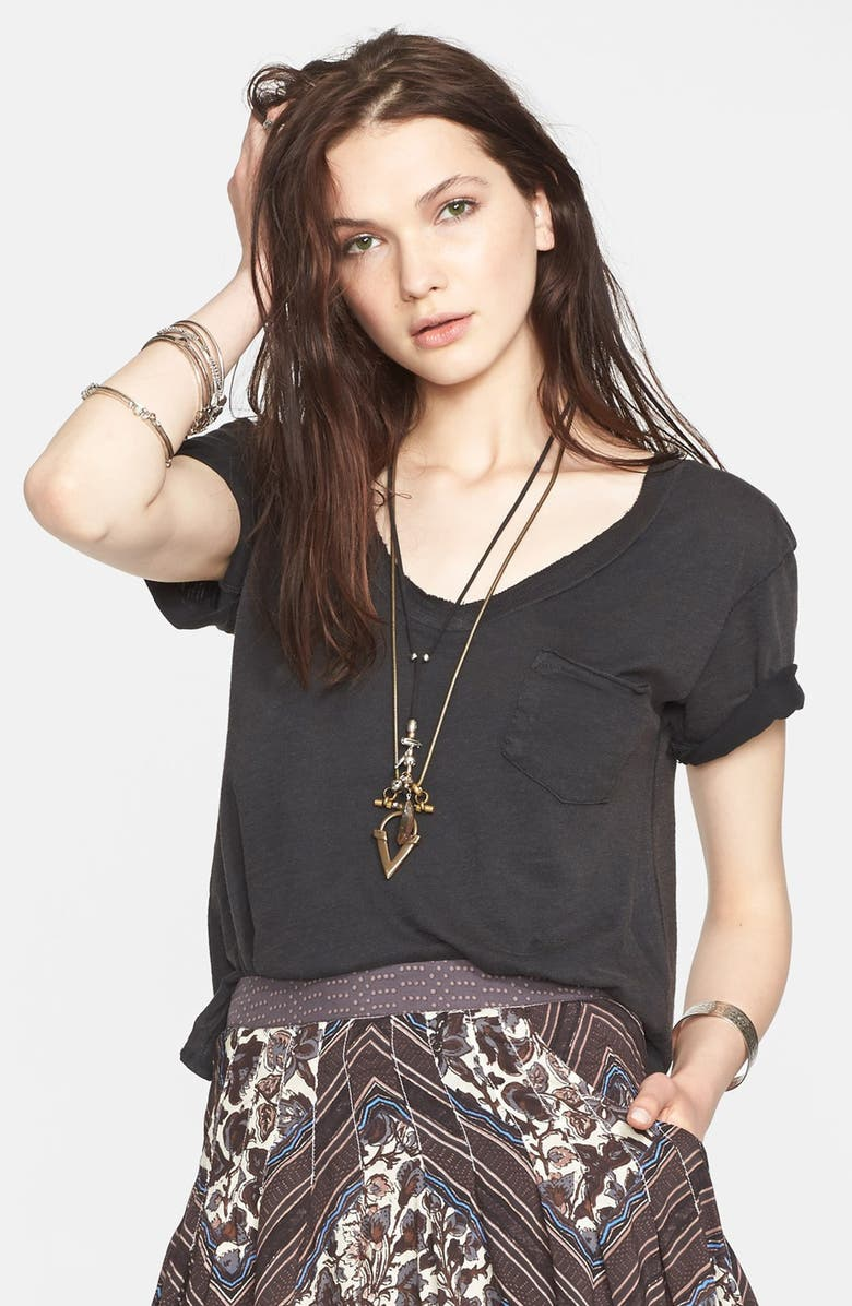 FREE PEOPLE '757' V-Neck Short Sleeve Tee, Main, color, 001