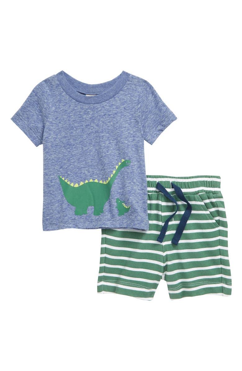 TUCKER + TATE Dino Graphic Tee & Stripe Shorts Set, Main, color, BLUE MAZARINE HEATHER DINOS