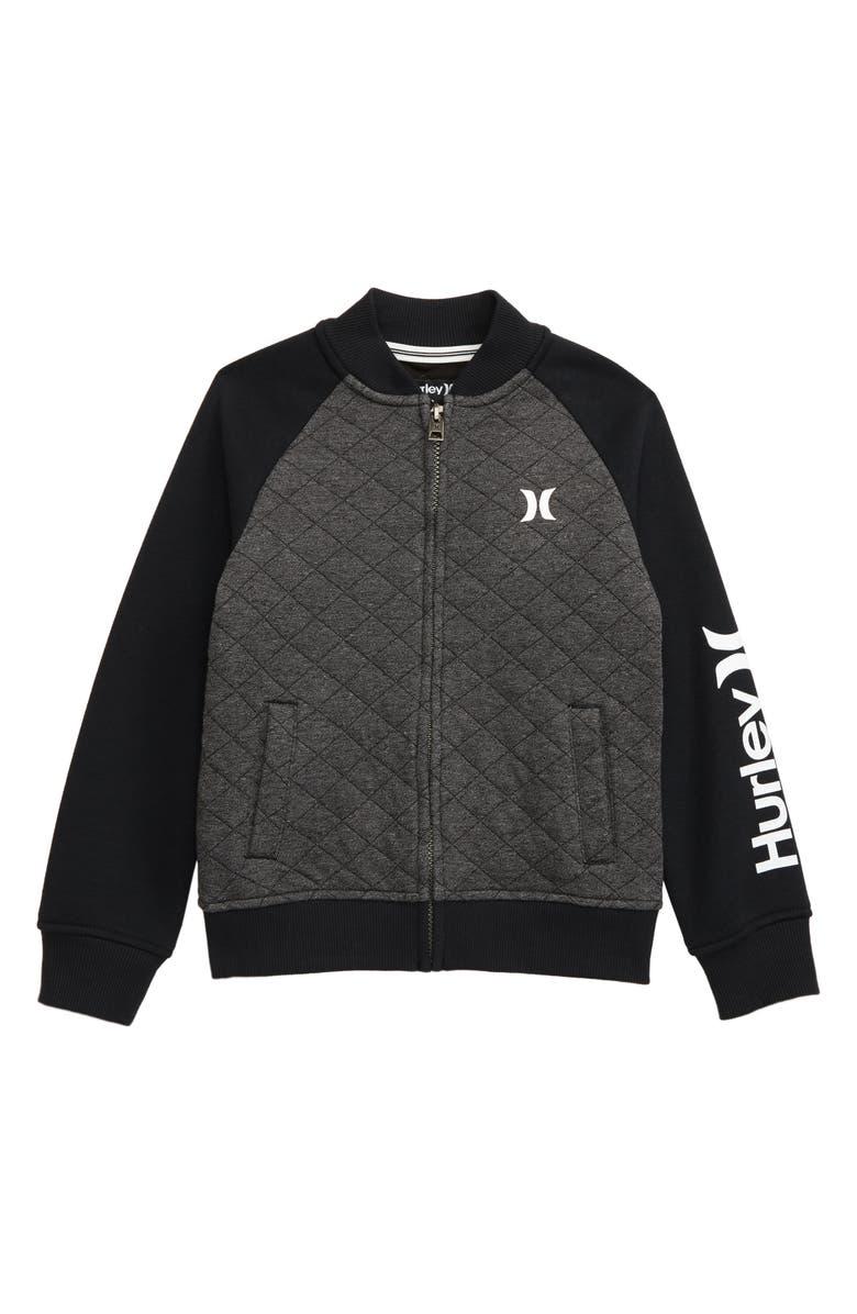 HURLEY Quilted Fleece Varsity Jacket, Main, color, 008