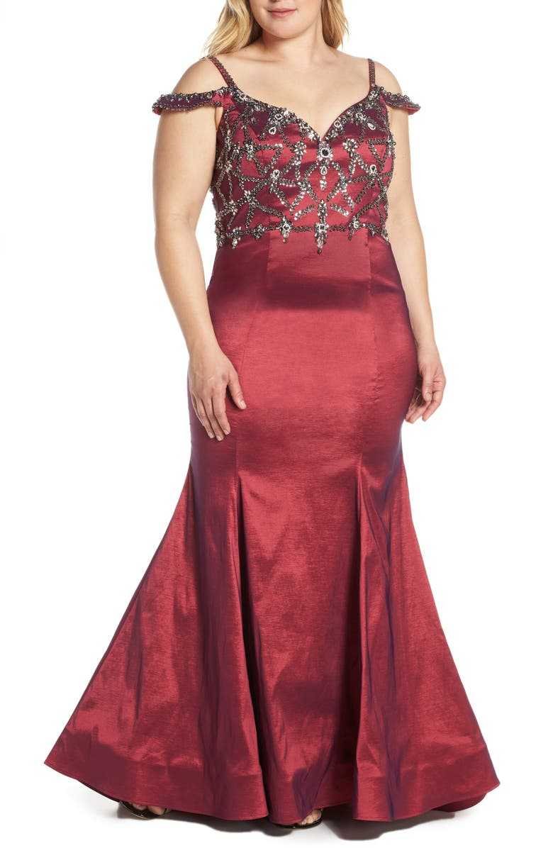 MAC DUGGAL Jeweled Bodice Satin Mermaid Gown, Main, color, CRANBERRY