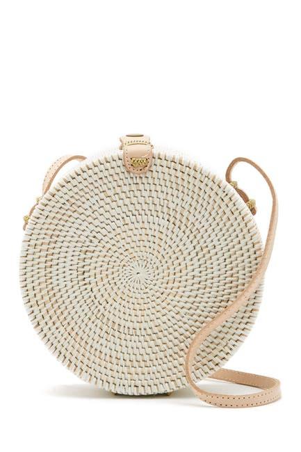 Image of Pink Haley Jones Vacay Round Straw Crossbody Bag