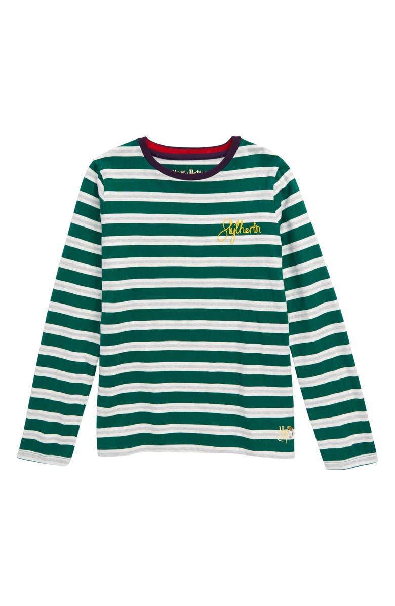 MINI BODEN Harry Potter Hogwarts House Breton Stripe T-Shirt, Main, color, SLYTHERIN GREEN/ SILVER SPARKL