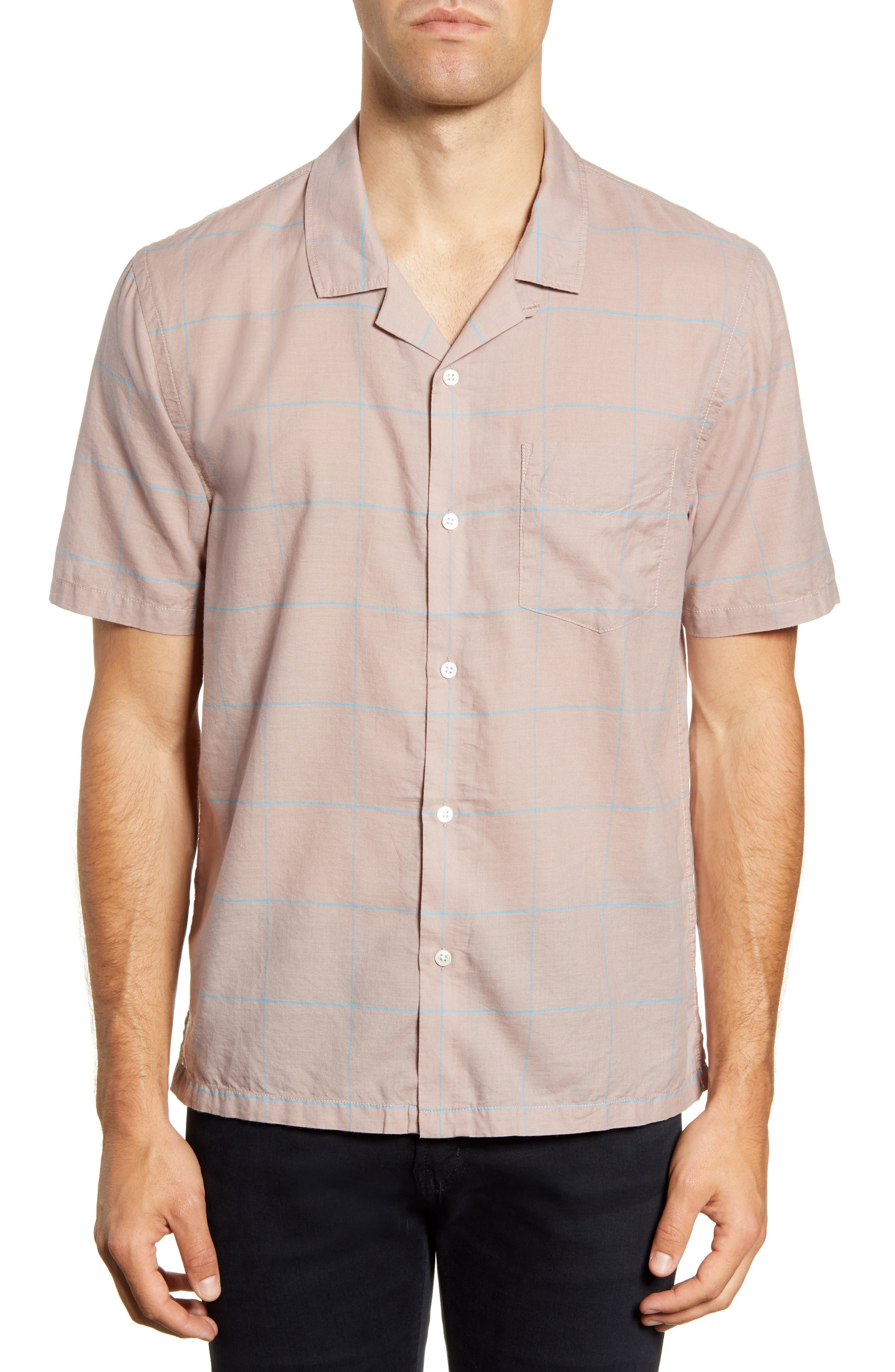 Cabus Slim Fit Windowpane Short Sleeve Button-Up Camp Shirt