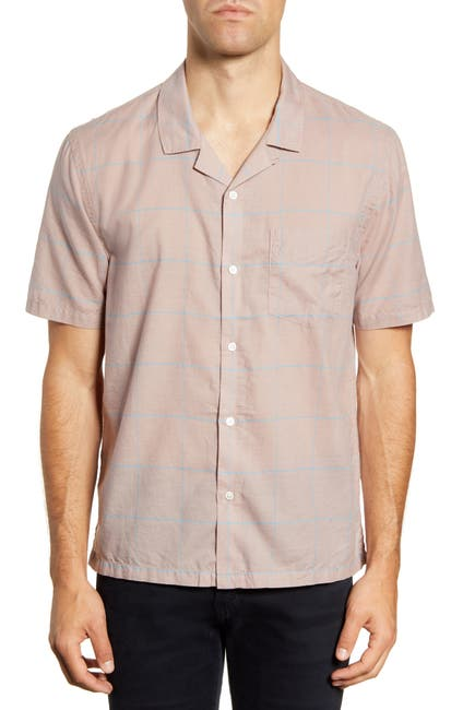 Image of BLDWN Cabus Slim Fit Windowpane Short Sleeve Camp Shirt