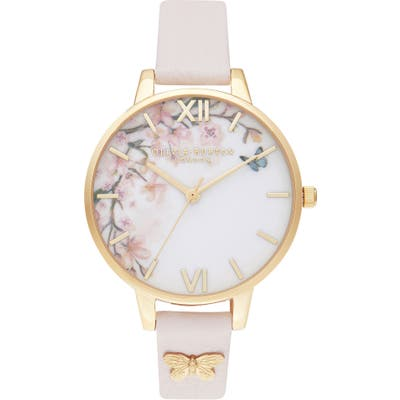 Olivia Burton Pretty Blossom Leather Strap Watch,