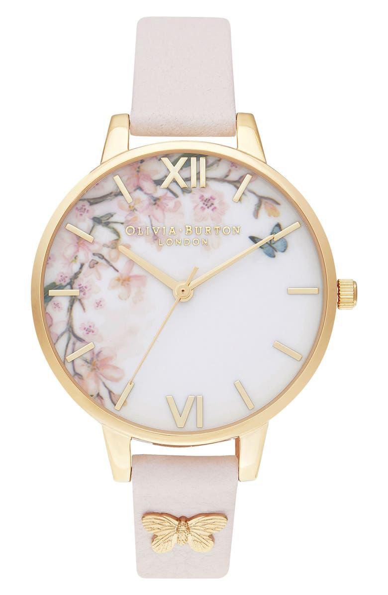 OLIVIA BURTON Pretty Blossom Leather Strap Watch, 34mm, Main, color, BLOSSOM/ WHITE/ BLOSSOM/ GOLD