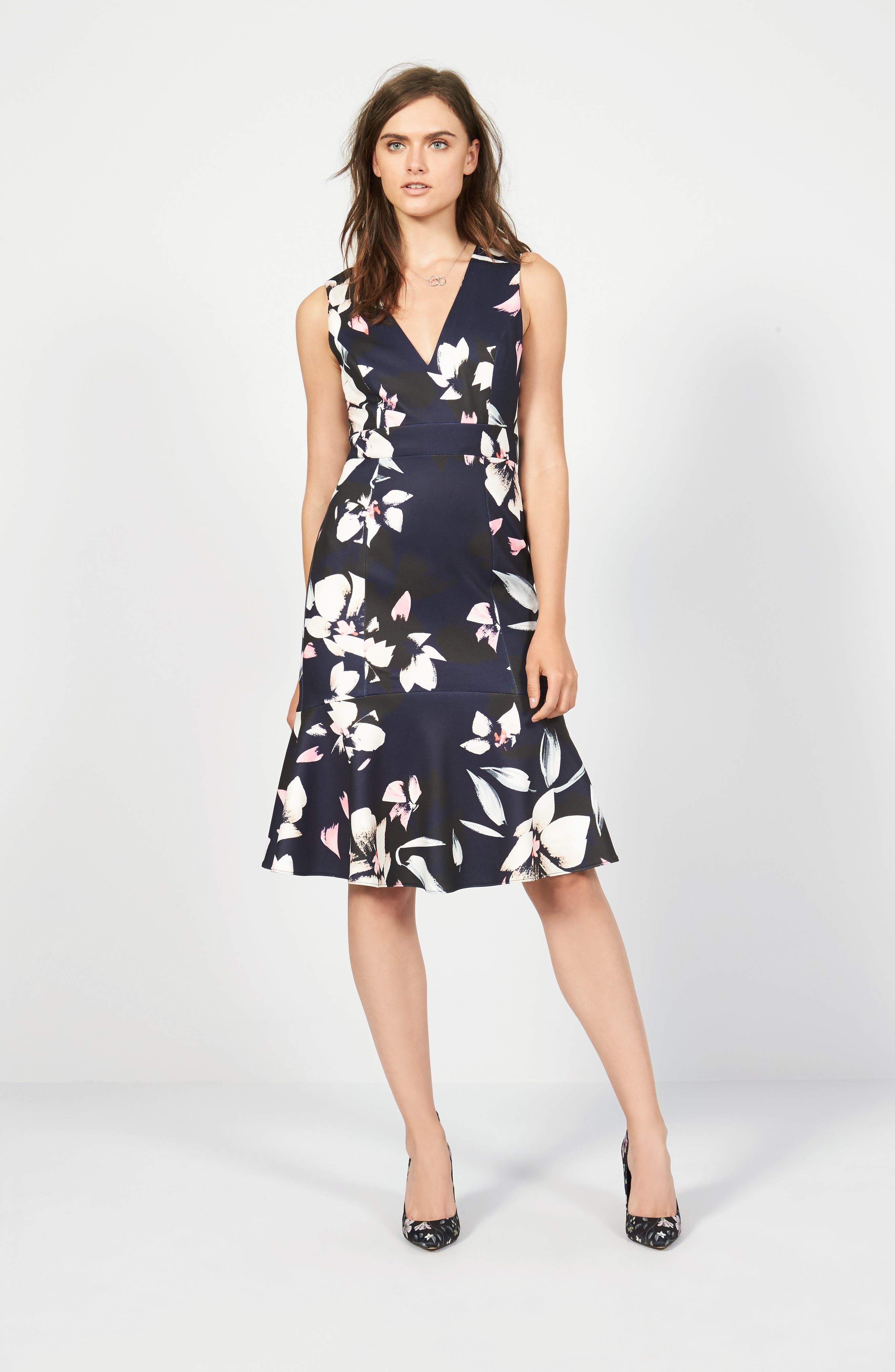,                             Stretch Fit & Flare Dress,                             Main thumbnail 1, color,                             400