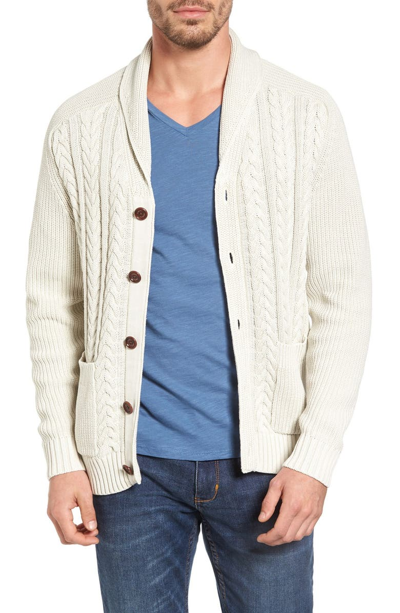 TOMMY BAHAMA Coastal Cable Shawl Collar Button Cardigan, Main, color, 251