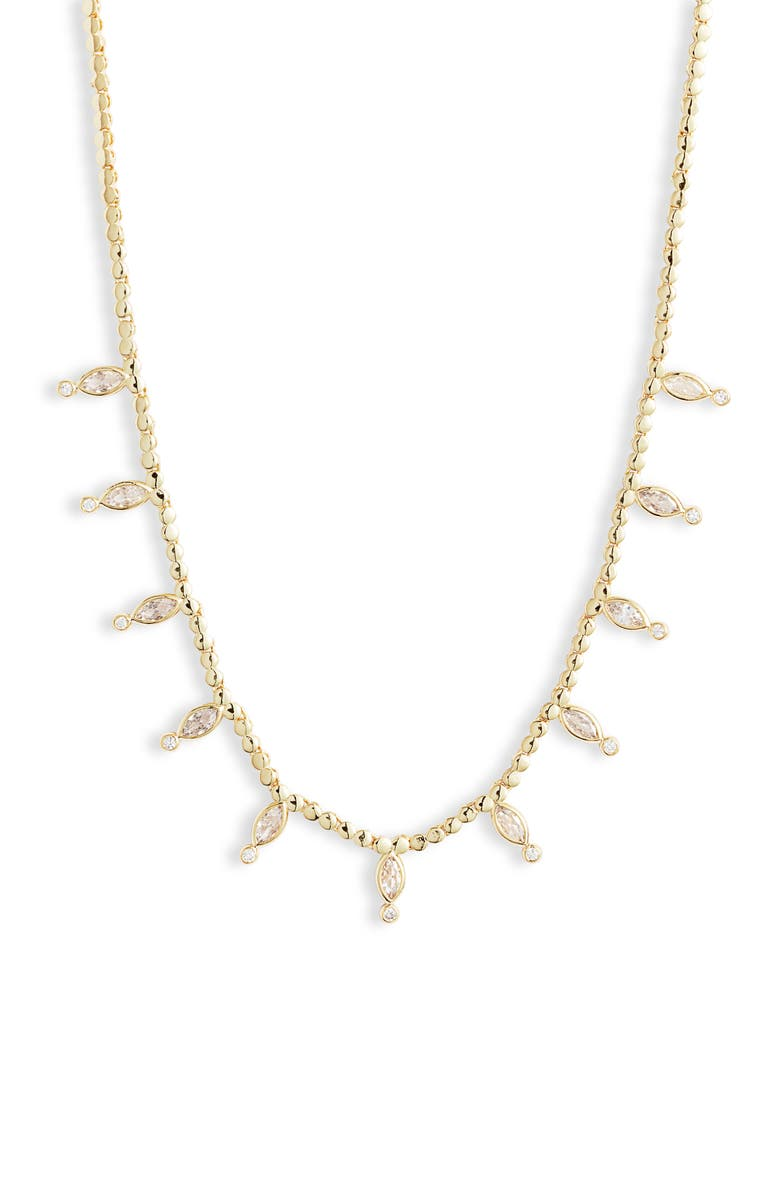 MELINDA MARIA Morgan Cubic Zirconia Collar Necklace, Main, color, GOLD/ WHITE OPAL/ WHITE CZ