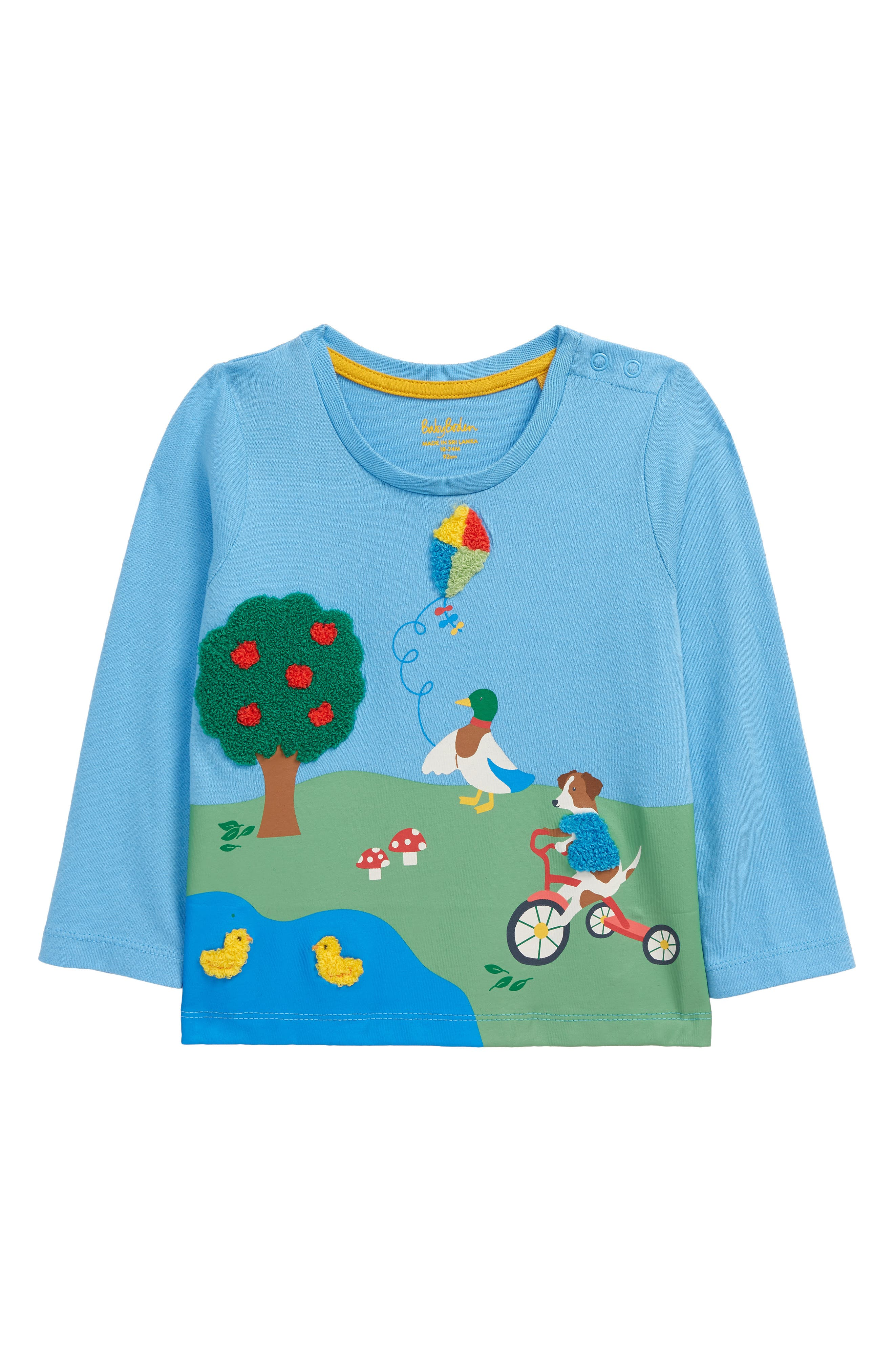 Textures, colors and friendly animals offer a lot to talk about on a soft cotton graphic tee that stays comfortable as it stimulates curiosity. Style Name: Mini Boden Park Scene Long Sleeve Graphic Tee (Baby). Style Number: 6119199. Available in stores.