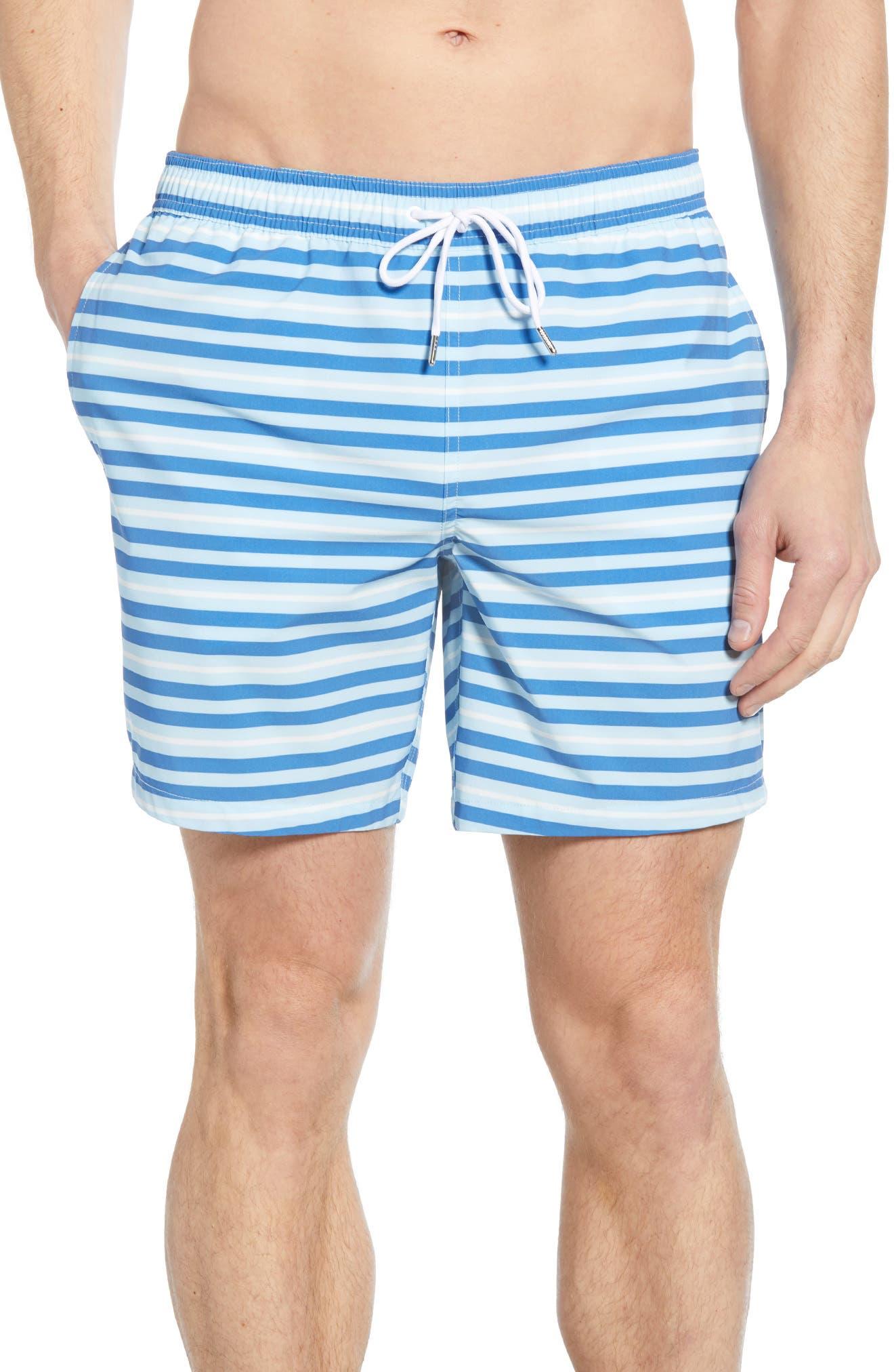 Bonobos E-Waist Stripe 7-Inch Swim Trunks, Blue