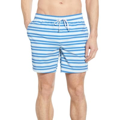 Bonobos E-Waist Stripe 7-Inch Swim Trunks, Blue